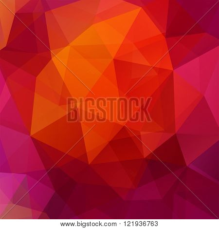 Background Made Of Triangles. Square Composition With Geometric Shapes. Eps 10. Red, Pink, Purple, O