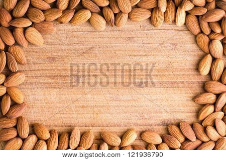 Rectangular Border Or Frame Of Fresh Almonds