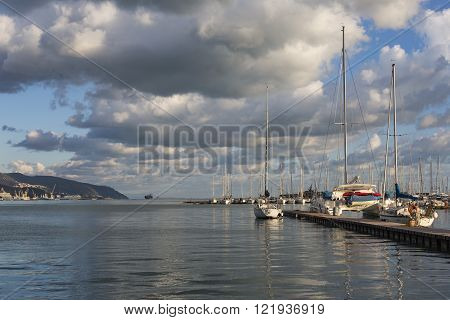 La Spezia, Italy - March 09, 2016: Yachts In The Port Of La Spezia, Italy