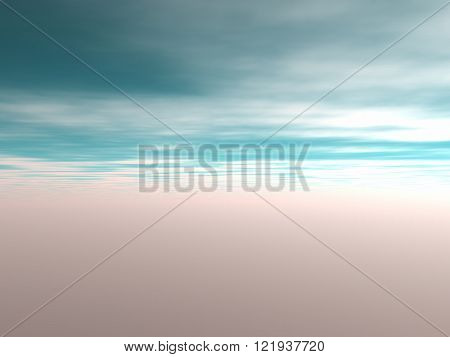View of the sky with blue clouds and red environment. Without land and objects