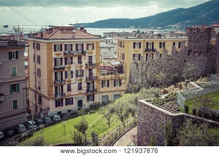 La Spezia, Italy - March 09, 2016: The High Narrow Houses Of La Spezia City In Northern Italy