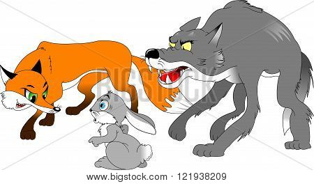 fox and the wolf hunt hare vector and illustration