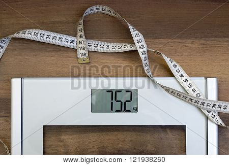 scales and meter on the wooden floor