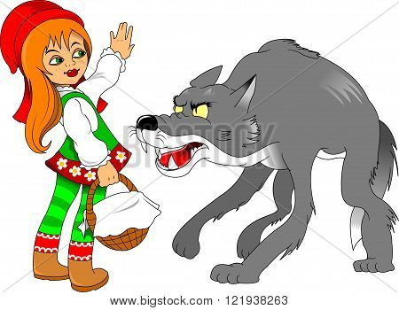 Little Red Riding Hood meeting a wolf vector and illustration