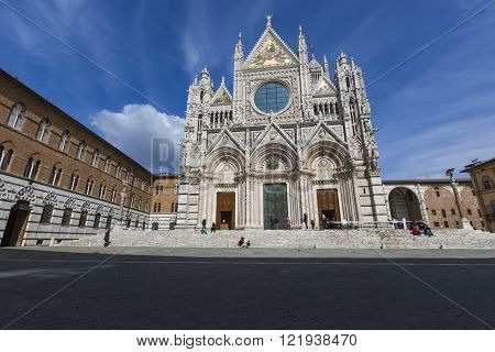 Siena, Italy - 10 March, 2016: Santa Maria Assunta Cathedral In Siena, Italy. Made Between 1215 And