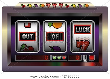 Gaming machine with three reels lettering OUT OF LUCK. Isolated vector illustration on white background.
