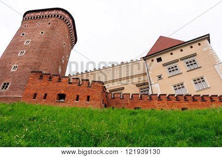 Senator brick tower Wawel brick wall and Wawel castle