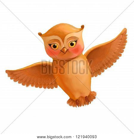 Flying owl isolated on white background. Illustration in cartoon style with a brown owl. Sketch funny owl drawn by hand.Funny bird icon for the website or landing selling children's clothes or toys. Picture suit for woman's blog or site.