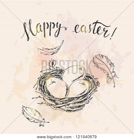 Hand drawn easter card. Easter bird nest easter eggs bird feathers. Happy easter hand lettering. Watercolor splash grunge background.