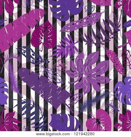 Tropical leaves,branches seamless pattern.Lilac,strips