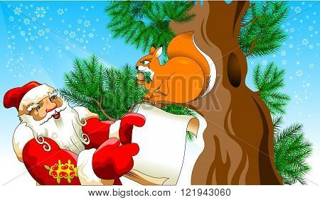Illustration for Christmas and New Year. Santa Claus. Vector