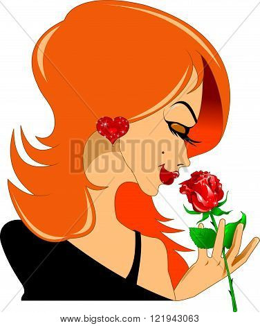 beautiful woman with a red rose in her hand vector