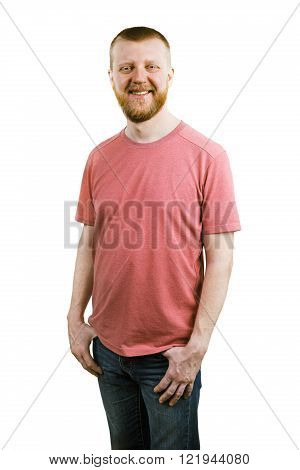Funny bearded man in a pink shirt
