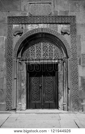 Monastery Geghard in Armenia, front door