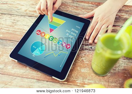 healthy eating, technology, diet and people concept - close up of woman hands with calories and vitamins chart on tablet pc, fresh juice