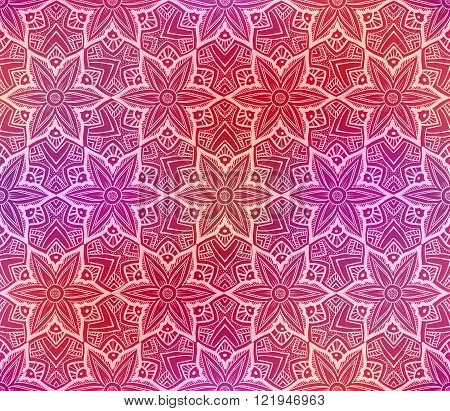 Seamless doodle flower pattern on shiny red background