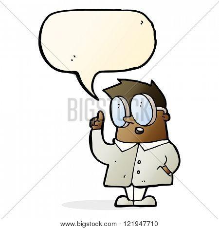 cartoon scientist with speech bubble