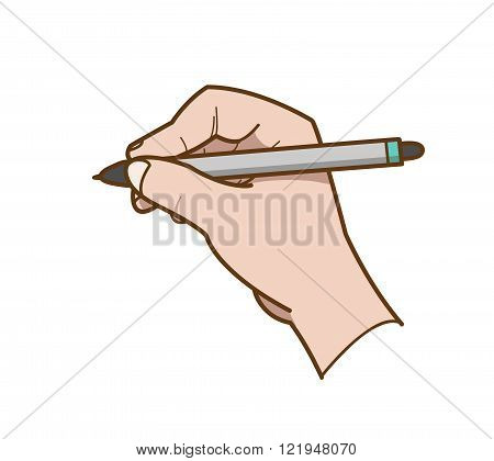 Hand Drawing, a hand drawn vector illustration of a hand holding a ballpoint about to write/draw something.