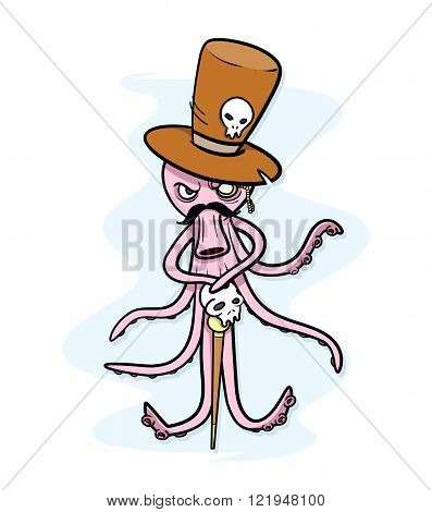 Hipster Octopus, a hand drawn vector illustration of a octopus cartoon character wearing a top hat, mustache, and holding a skull walking stick.
