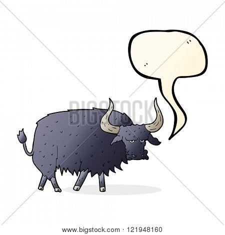 cartoon annoyed hairy ox with speech bubble