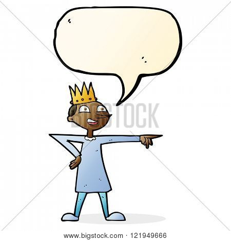cartoon pointing prince with speech bubble