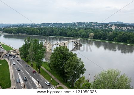 Top view on Pont d'Avignon and Rhone river in Avignon France