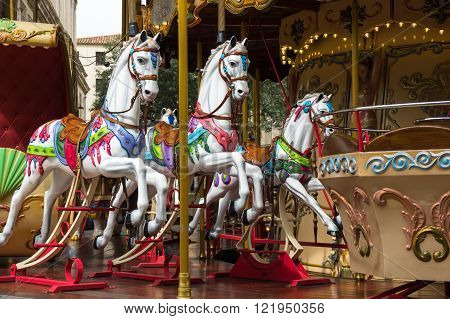 Carousel horse in historical centre of Avignon southern France
