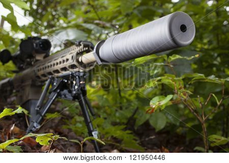Modern semi automatic rifle that has a silencer attached in the trees