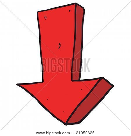 freehand drawn cartoon illustration of arrow pointing down