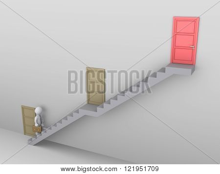 Businessman is climbing a staircase with three doors and the higher one is the best