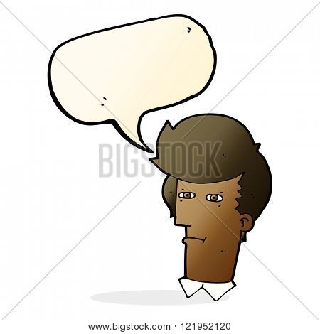 cartoon man narrowing eyes with speech bubble