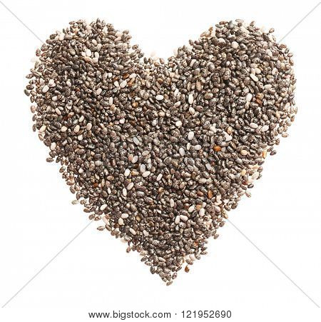 Pile of chia seeds in a heart shape isolated on white background