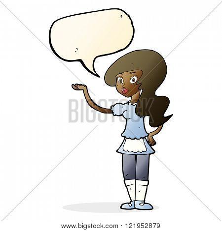 cartoon waitress with speech bubble