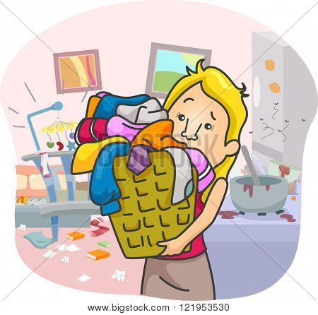 Illustration of an Overworked Girl Swamped with House Chores