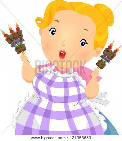 Illustration of a Plump Girl Holding Barbecue Sticks