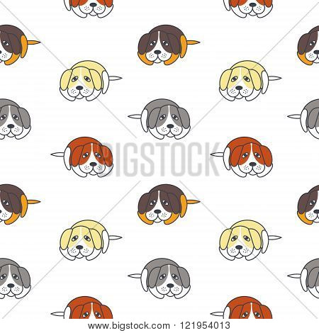 Poor lonely dogs seamless pattern.
