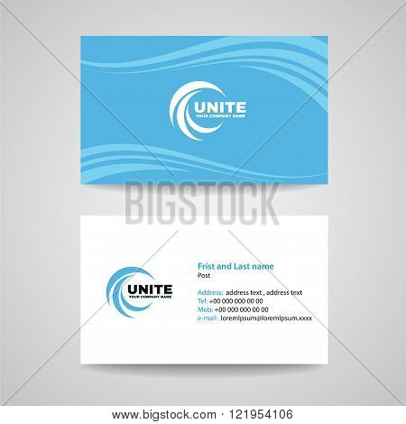 Business card background Template - circle wave logo and Blue sky Wave background vector design