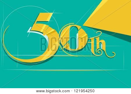 Illustration Featuring a Sleek Number 50 Drawn in Gold