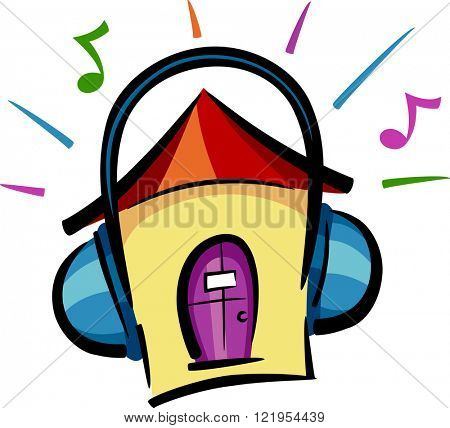 Illustration of a House Featuring Headphones Blasting Loud Music