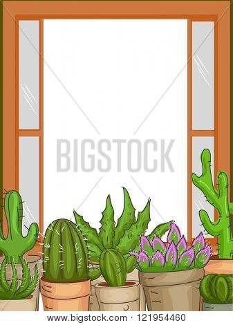 Frame Illustration Featuring Succulents Placed by the Window Sill