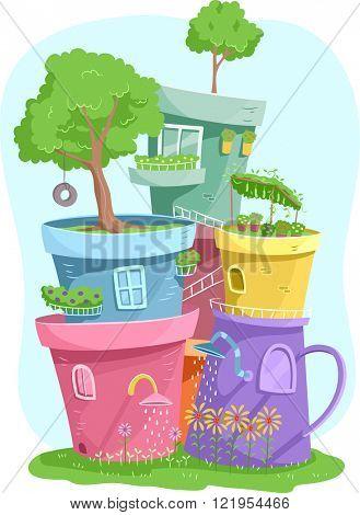 Illustration of Colorful Pots Housing Miniature Gardens