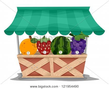 Illustration of a Market Stall with Fruit Shaped Juice Dispensers