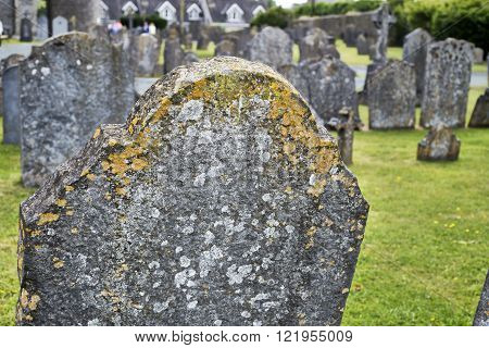 gravestones at ancient graveyard in St Canice's Cathedral in kilkenny city ireland