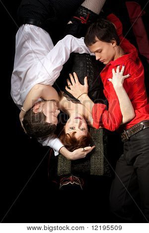 red woman in mask and two men - love triangle