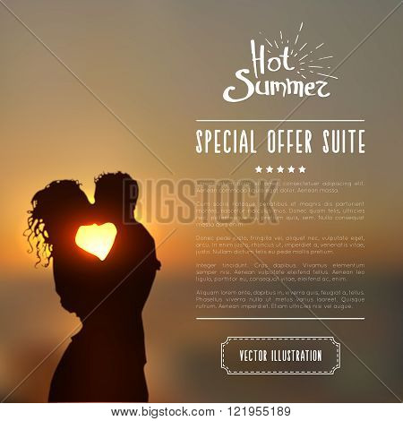 Summer poster with a kissing couple silhouette against a sunset seascape blurred background. Realistic vector illustration.