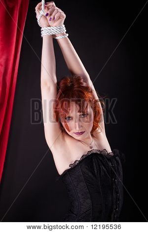 red woman bind with rope