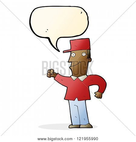 cartoon man punching air with speech bubble