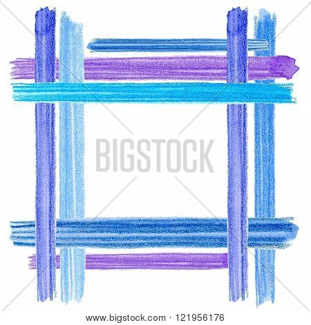 Watercolor brush strokes card. Artistic creative universal card. Colorful watercolor pencil brushstrokes. Wedding, birthday, party invitation. Design for poster, card, invitation, placard. Blue, indigo and lilac