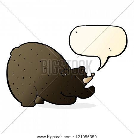cartoon stretching black bear with speech bubble