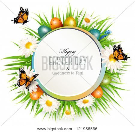 Happy Easter background with grass, butterflies and easter eggs. Vector.